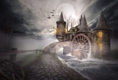 Ilustração de um castelo medieval Imagens de Stock