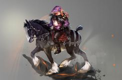 Ilustração de um cavaleiro em um cavalo preto ilustração royalty free