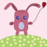 Ilustração de um coelho bonito com balão Imagens de Stock Royalty Free