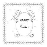 Ilustração de um coelho que guarda um ovo na festa da ressurreição para as crianças que colorem e a decoração do projeto de cartã ilustração royalty free