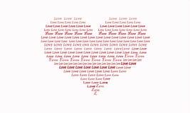 Ilustração de um coração enchido com o amor da palavra vermelho e branco imagens de stock