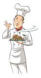 Ilustração de um cozinheiro chefe que prende o prato delicioso Fotos de Stock