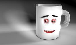 A ilustração de um 3D rende criado em consequência de uma caneca cerâmica cinzenta com a opinião dianteira da cara no fundo ilustração do vetor
