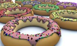 A ilustração de um 3D rende criado em consequência de uma opinião colorida dos anéis de espuma dos confeitos dos lados diferentes ilustração royalty free