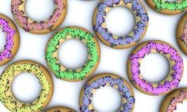 A ilustração de um 3D rende criado em consequência de uma opinião colorida dos anéis de espuma dos confeitos dos lados diferentes ilustração do vetor