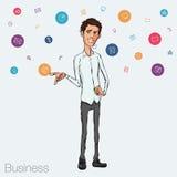 Ilustração de um empregado de escritório que mostra a tela da tabuleta para aplicações da apresentação Imagem de Stock Royalty Free