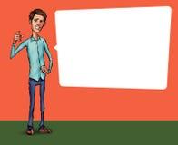 Ilustração de um empregado de escritório que mostra a tela da tabuleta para aplicações da apresentação Foto de Stock