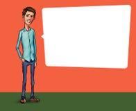 Ilustração de um empregado de escritório que mostra a tela da tabuleta para aplicações da apresentação Imagens de Stock Royalty Free