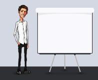 Ilustração de um empregado de escritório que mostra a tela da tabuleta para aplicações da apresentação Fotos de Stock Royalty Free