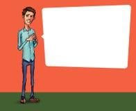 Ilustração de um empregado de escritório que mostra a tela da tabuleta para aplicações da apresentação Imagem de Stock