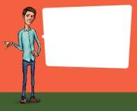 Ilustração de um empregado de escritório que mostra a tela da tabuleta para aplicações da apresentação Foto de Stock Royalty Free