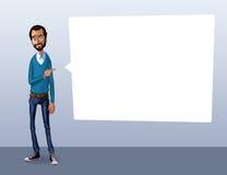 Ilustração de um empregado de escritório que mostra a tela da tabuleta para aplicações da apresentação Fotos de Stock