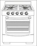 Ilustração de um fogão Imagens de Stock