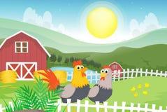 Ilustração de um galo e de uma galinha na exploração agrícola Fotografia de Stock Royalty Free