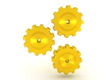 Ilustração de um giro metálico dourado de três rodas denteadas Fotografia de Stock