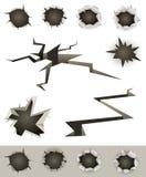 Buracos de bala, rachaduras e cortes ajustados ilustração royalty free