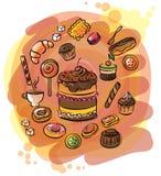 Ilustração de um grupo de doces Foto de Stock Royalty Free