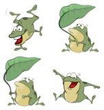 Ilustração de um grupo de rãs verdes dos desenhos animados bonitos Fotos de Stock Royalty Free