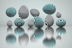 Ilustração de um grupo de ovos da páscoa com sulcos redondos em cores azuis sobre a superfície reflexiva ilustração do vetor