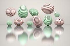 Ilustração de um grupo de ovos da páscoa com sulcos redondos vermelhos e verdes ilustração do vetor