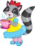 A ilustração de um guaxinim bonito da menina, vestida belamente, chá bebendo, na cor, aperfeiçoa para o livro de crianças ilustração do vetor