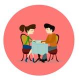 Ilustração de um homem e de uma mulher que fazem-se perguntas Foto de Stock Royalty Free