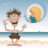 Ilustração de um homem feliz estranho na praia que sonha sobre a mulher bonita Fotografia de Stock