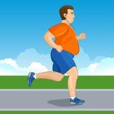 Ilustração de um homem gordo dos desenhos animados que movimenta-se, conceito da perda de peso, Fotografia de Stock