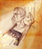 Ilustração de um homem no perfil e em uma pistola ilustração stock