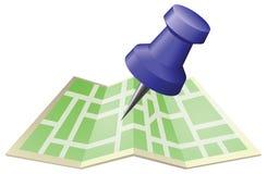 Ilustração de um mapa de rua com o pino do impulso do desenho Foto de Stock Royalty Free