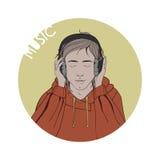 Ilustração de um menino que escuta a música Imagem de Stock Royalty Free