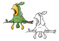 Ilustração de um papagaio verde bonito Personagem de banda desenhada esboço ilustração do vetor