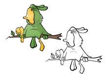 Ilustração de um papagaio verde bonito Personagem de banda desenhada esboço ilustração stock