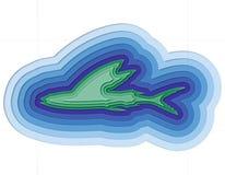 Ilustração de um peixe mergulhado no oceano Foto de Stock