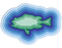 Ilustração de um peixe mergulhado no oceano Imagem de Stock