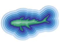 Ilustração de um peixe mergulhado no oceano Imagens de Stock