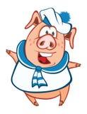 Ilustração de um porco bonito Personagem de banda desenhada Imagens de Stock
