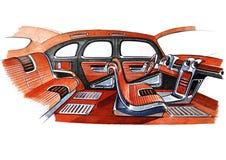 Ilustração de um projeto de design de interiores retro do carro ilustração stock