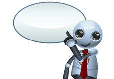 Ilustração de um robô pequeno feliz que aponta o dedo ilustração do vetor