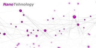 Ilustração de um símbolo da nanotecnologia em um fundo preto Foto de Stock Royalty Free