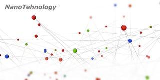 Ilustração de um símbolo da nanotecnologia em um fundo preto Imagens de Stock