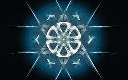 Ilustra??o de um s?mbolo fant?stico abstrato na forma de uma figura geom?trica de um c?rculo com seis listras ao redor e um azul ilustração royalty free
