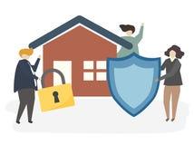 Ilustração de um seguro da casa ilustração do vetor