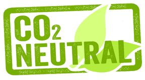 Ilustração de um selo com ponto morto do carbono do CO2 ilustração royalty free