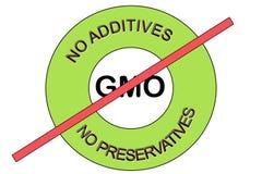 Ilustração de um verde nenhum GMO não GMO nenhuns preservativos nenhum selo do selo dos aditivos fotografia de stock