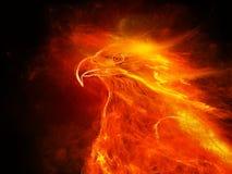 Ilustração de uma águia ardente com fundo preto Fotos de Stock Royalty Free