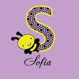 Ilustração de uma abelha com letra de S imagens de stock