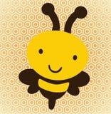 Ilustração de uma abelha sobre um favo de mel, fundo Foto de Stock Royalty Free