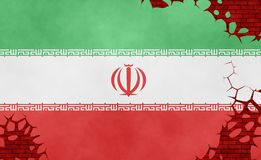 Ilustração de uma bandeira iraniana, imitação de uma pintura na parede rachada fotos de stock royalty free