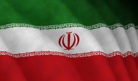 Ilustração de uma bandeira iraniana de voo imagens de stock royalty free